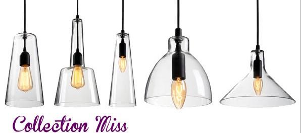 Suspensions en verre luminaires collection miss 01 Suspension pour cuisine design